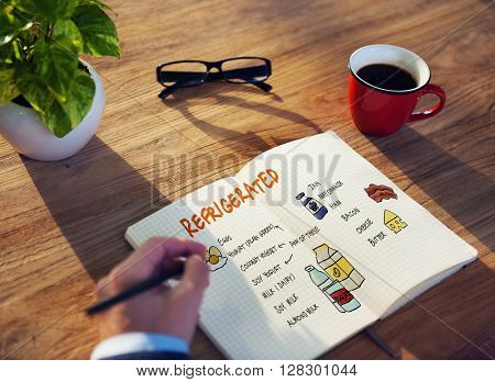 Refrigerated Shopping List Objects Concept
