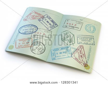 Opened passport with visa stamps on the  pages isolated on white. 3d illustration
