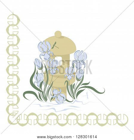blue irises in a Japanese garden Japanese Garden Lanterns and irises vector illustration