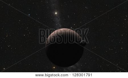 View of fantasy Alien Exo Planet near the earth 3d rendering