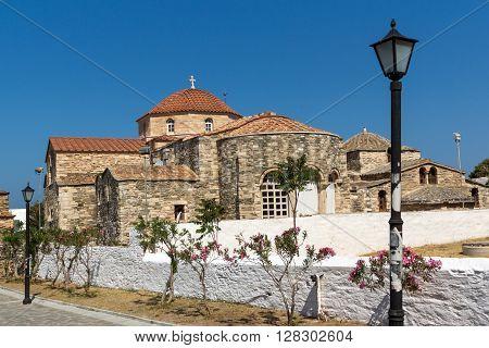 Panoramic view of Church of Panagia Ekatontapiliani in Parikia, Paros island, Cyclades, Greece