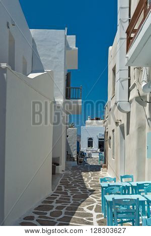 Old white house in Naoussa town, Paros island, Cyclades, Greece