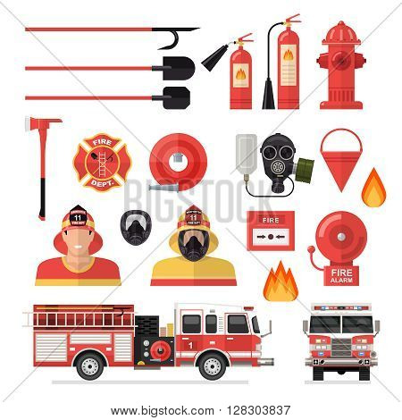 Firefighter isolated colored icon set with tools accessories and vehicles for firefighting vector illustration
