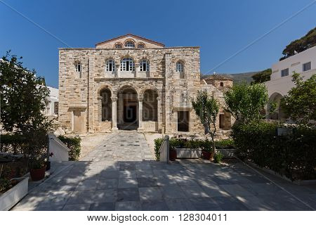 Amazing view of Panagia Ekatontapiliani in Parikia, Paros island, Cyclades, Greece