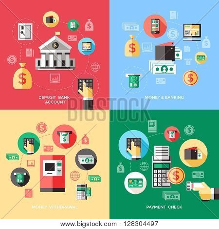 Bank services concept with deposit account payment check withdrawal of money financial operations isolated vector illustration