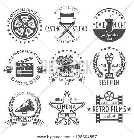 Movies black white emblems set with reel chair clapper megaphone award projector and inscriptions isolated vector illustration