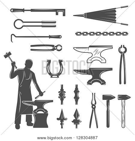 Blacksmith black white icons set with craftsman ironworks nippers pincers chain horseshoe sledge hammers isolated vector illustration