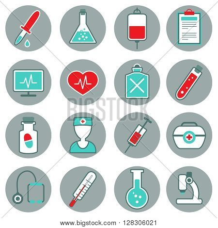 Medicine flat icons set with pills thermometer pulse test tube dropper syringe stethoscope poison isolated vestor illustration