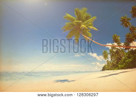 Tropical beach paradise with vintage effect.