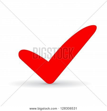 Red tick icon isolated on white background