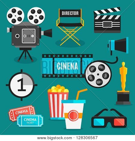 Cinema icon set with equipment for filming movies awards and accessories for viewing films vector illustration