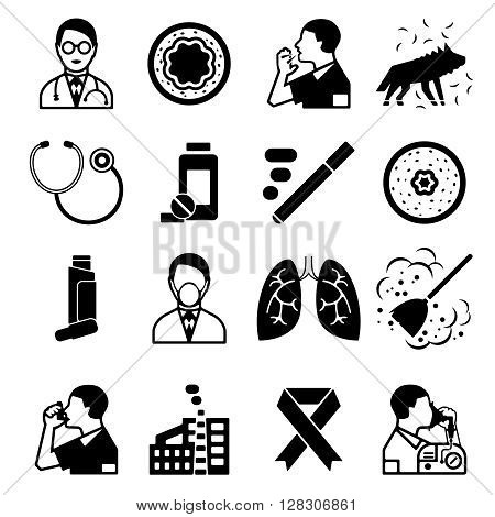 Asthma black isolated icons set with sick people drugs and medical instruments vector illustration