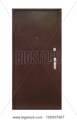 Closed security door isolated at white background. Image of a closed metal door. Entrance to apartment. Brown metal, steel front door with lock and handle. Modern Door design.
