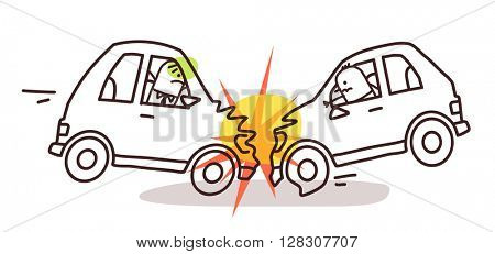 cartoon characters and car - car crash