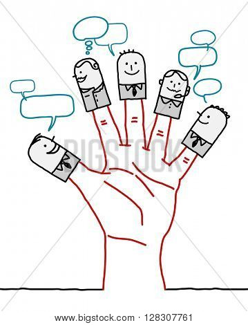 big hand and cartoon characters - social business network