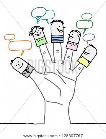 big hand and cartoon characters - social network