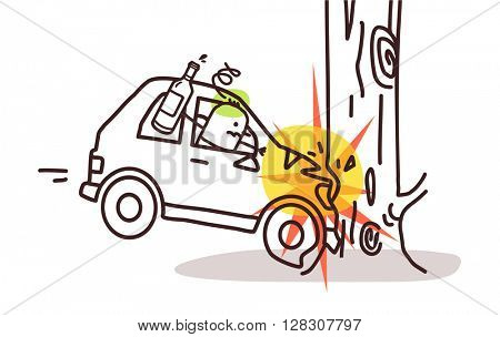 cartoon characters and car - car crash on tree
