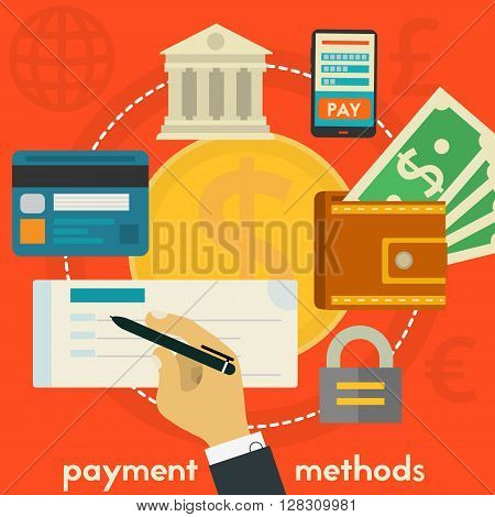 Payment Methods concept banner. Square composition, vector illustration