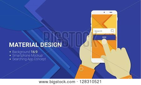 Material design hands holding mobile device with web searching app, on trendy material background