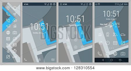 Trendy material style bold line mobile smartphone UI app template, with basic app and wireframe ui bold line icon set, on material design background. Welcome, lock and home page screens