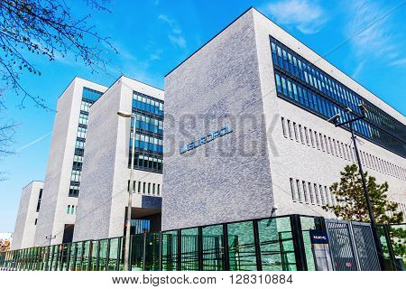The Hague Netherlands - April 21 2016: Europol headquarter in The Hague. It is the European Police department that has to coordinate the work of the national police in case of organized crime.