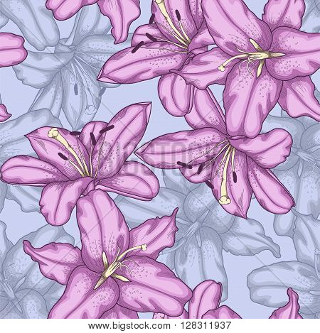 Beautiful seamless background with violet lilies. Hand-drawn contour lines and strokes.