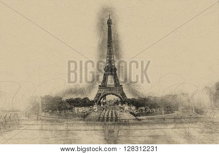 Centered Eiffel Tower in Paris France as charcoal sketch on brown paper for greeting or post card