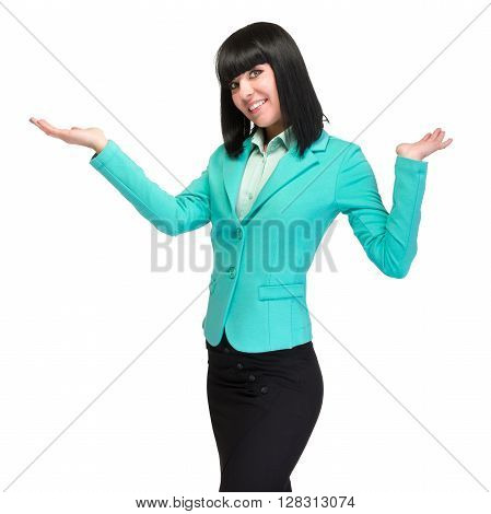 Happy young business woman showing copy space, isolated on white background