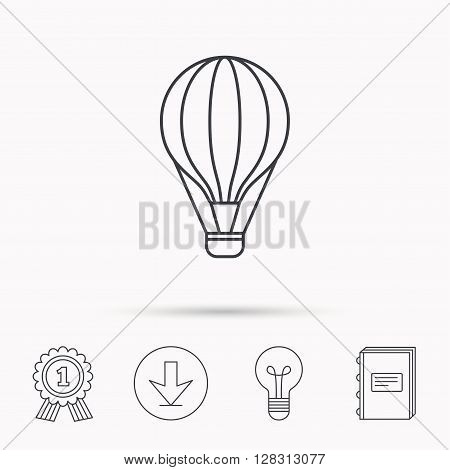 Air balloon icon. Fly transport sign. Airship travel symbol. Download arrow, lamp, learn book and award medal icons.