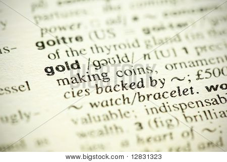 "Dictionary Definition Of The Word ""gold"" In English"