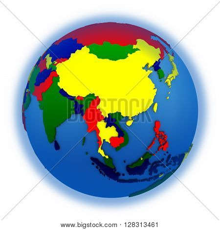 Asia On Political Model Of Earth