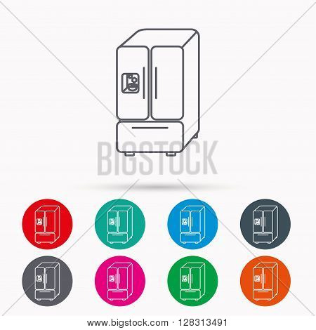 American fridge icon. Refrigerator with ice sign. Linear icons in circles on white background.
