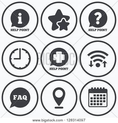 Clock, wifi and stars icons. Help point icons. Question and information symbols. FAQ speech bubble signs. Calendar symbol.