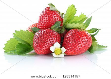 Strawberry Strawberries Berry Berries Fruit With Leaves Isolated On White