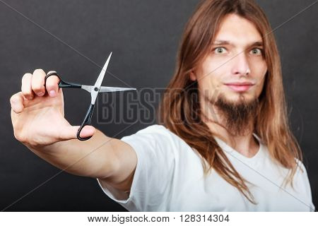 Hairstylist With Scissors In Hand