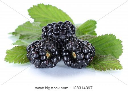 Blackberry Fruit Blackberries Berry Berries With Leaves Isolated On White