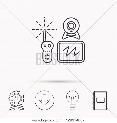 Baby monitor icon. Video nanny for newborn sign. Radio set with camera and tv symbol. Download arrow, lamp, learn book and award medal icons.