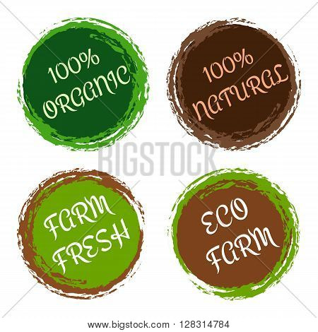 100% organic and natural labels. Eco fresh product from farm stickers. Natural food design elements in circle frames with labels. Green and brown colored stamps. Vector stock isolated illustration.