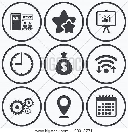 Clock, wifi and stars icons. Human resources icons. Presentation board with charts signs. Money bag and gear symbols. Man at the door. Calendar symbol.