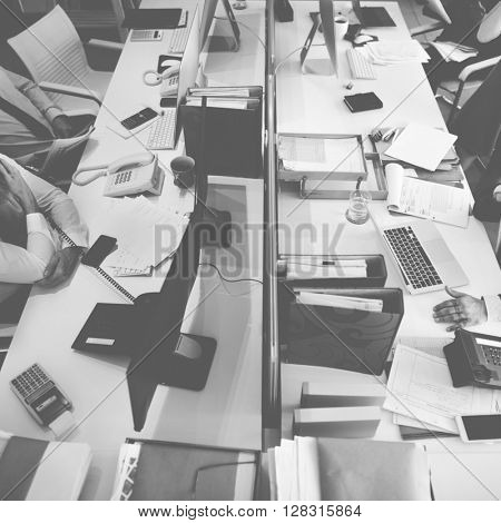 Business Team Busy Working Workplace Office Concept