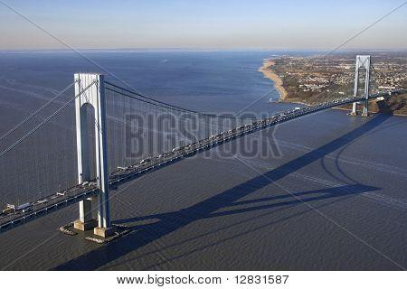Aerial view of New York City's Verrazano-Narrow's bridge.