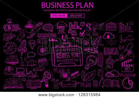 Business Planning  concept with Doodle design style: online solution, social media campain, creative ideas,Modern style illustration for web banners, brochure and flyers.