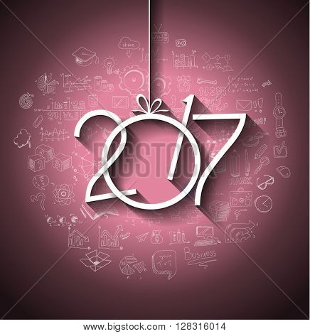 2017 New Year Infographic and Business Plan Background for your Flyers and Greetings Card with Hand Drawn Business and infographic sketches.