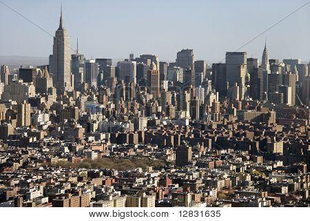 Aerial view of Manhattan, New York City skyline.