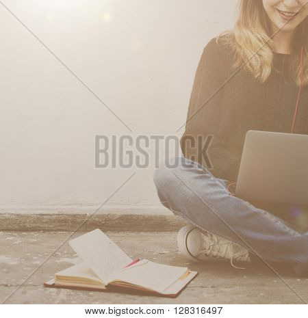 Student Woman Browsing Notebook Digital Device Concept