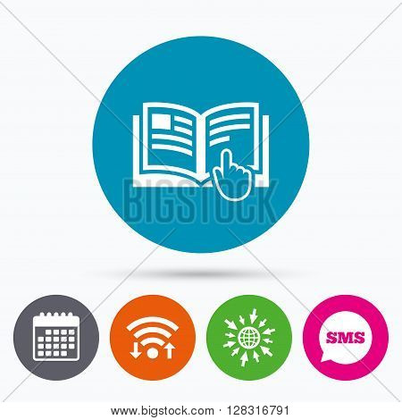 Wifi, Sms and calendar icons. Instruction sign icon. Manual book symbol. Read before use. Go to web globe.