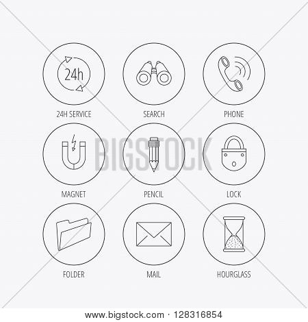 Phone call, pencil and mail icons. Search, 24h support and folder linear signs. Hourglass, magnet energy flat line icons. Linear colored in circle edge icons.