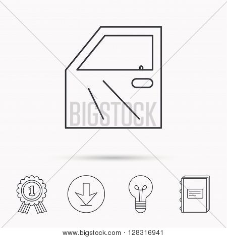 Car door icon. Automobile lock sign. Download arrow, lamp, learn book and award medal icons.