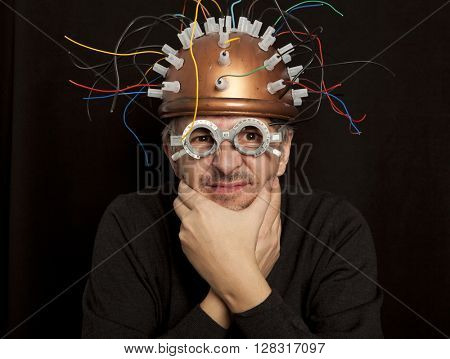 Cheerful crazy inventor helmet for brain research