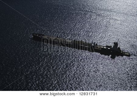 Aerial view of tanker ship.